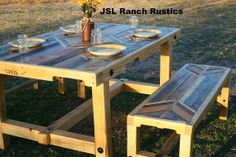 PALLET    We were just talking about making a table and bench seating for the 4th of July. This looks perfect.