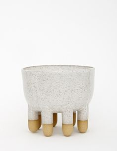 Ben Medansky; Glazed Speckled Buff Clay 'Large Bowl with Nub Feet,' c2014.