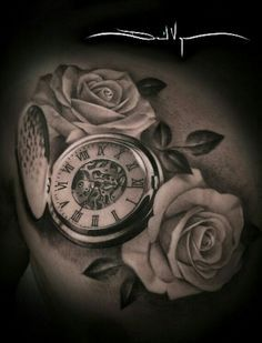 beautiful skull tattoos for women Time Piece Tattoo, Pieces Tattoo, Time Tattoos, Back Tattoos, Skull Tattoos, New Tattoos, Sleeve Tattoos, Tatoos, Large Tattoos