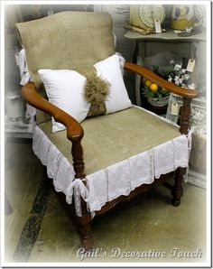 Maybe I could do something like this with the old chair I have stored at mom & dad's...hmmmmm :)