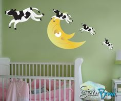 Wall Decal Vinyl Sticker Cow Jumping over the Moon Nursery