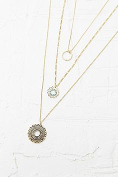 Layered Ring Necklace in Gold