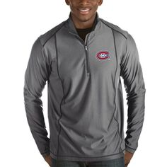 Montreal Canadiens Antigua Tempo Desert Dry 1/2-Zip Pullover Jacket - Charcoal