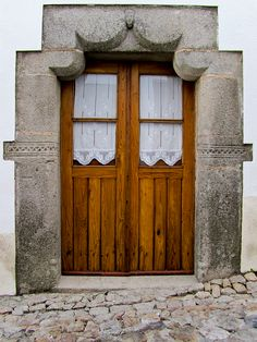 Eminently traditional with beautiful examples of decorated doors and window openings #Marvão, #Alentejo #Portugal