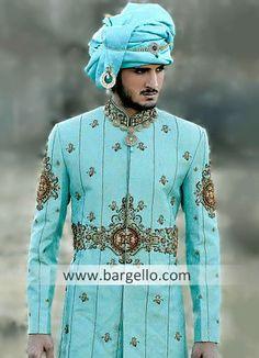 Style Color: Dark Turquoise Fabric: Jamawar Glamorous l Wedding Sherwani, Sherwani Groom, Punjabi Wedding, Pakistan Fashion, India Fashion, Indian Dresses, Indian Outfits, Indian Men Fashion, Moda Masculina
