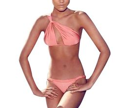a38dee65476a2 KUBI Women s Pink Bikini One Shoulder Cut-out Top Ruched Bottom (Large (US