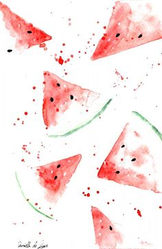 Iphone Background Wallpaper, Aesthetic Iphone Wallpaper, Aesthetic Wallpapers, Watercolor Wallpaper Iphone, Watermelon Wallpaper, Watermelon Background, Fond Design, Watermelon Art, Watermelon Drawing