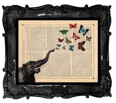 You give me Butterflies - ELEPHANT collage Art print - ELEPHANT and Butterflies ART antique book page dictionary print on Etsy, $10.00