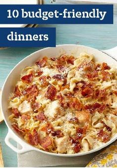 10 Budget Dinner Recipes -- Our wide collection of recipes will help you create delicious meals all while being easy on your wallet. From chicken skillets to pasta casseroles, these menu ideas cut down on cost, not taste.