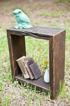 Rustic End Table Made From Reclaimed Wood and Hand Forged Nails. $175.00, via Etsy.
