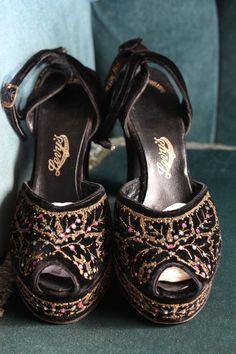 Exquisite 1940s Velvet & Leather, Rhinestone, Platform, Anklestrap, Metallic, Black, Evening Shoes