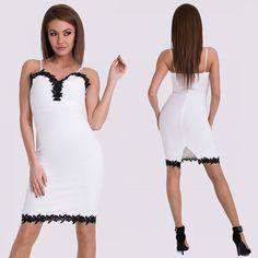 ae18be6d39 Fehér fekete csipkés alkalmi ruha - Női ruha webáruház, női ruhák online -  HG Fashion