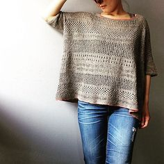 Used Boxy pattern for the basic shapes and then used the lace pattern from cancun boxy lace top instead of kitchener stitch. Knitted by Pooki on Ravelry