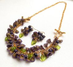 #Purple jewelry  #Millefiori  Necklace turns into a by insoujewelry