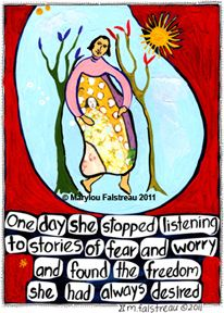 """""""Found The Freedom She Desired"""" . . . Women and the Hourglass®  Fine Art Prints & Cards  Created by Marylou Falstreau . . .     Created, printed and packaged by the Artist in the United States.  We use only top quality archival inks & paper. Prints $19.00    http://mfalstreau.3dcartstores.com"""