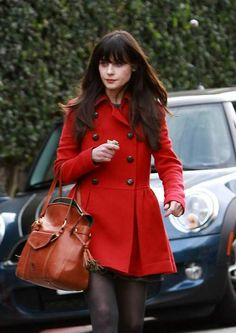Red coat in a fit and flair - so feminine!