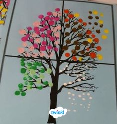 Finger Painting Art - Tree changing through the seasons., My Favorite, Seasons Kindergarten, Kindergarten Art, Preschool Art, Weather Art, Weather Crafts, Weather Seasons, Finger Paint Art, Finger Painting For Kids, Finger Art