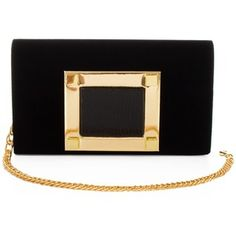 Black and gold clutch with chain