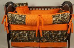 Camo & orange crib