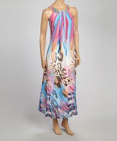 Look at this #zulilyfind! Pink & Blue Leopard Maxi Dress - Women #zulilyfinds