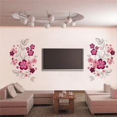 Stickers Decorazione da Muro Parete Elettrodomestici Floreale Fiori Rosa