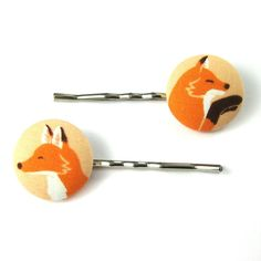 Fox Bobby Pins  Fox Fabric Covered Button Bobby by MelissaAbram, $6.25