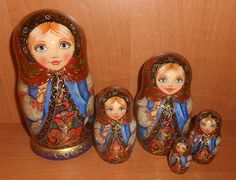 Nesting dolls matryoshka with painting in russian by Artworkshop1, $120.00