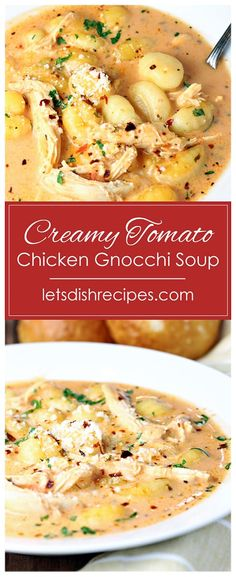 Creamy Tomato Chicken Gnocchi Soup Recipe -- A creamy tomato based broth is loaded with gnocchi pasta and tender chicken in this easy and heartwarming soup. #soup #gnocchi #recipes Chowder Recipes, Chili Recipes, Soup Recipes, Chicken Recipes, Gnocchi Pasta, Chicken Gnocchi Soup, Pork Recipes For Dinner, Easy Holiday Recipes, Meal Ideas