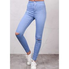 Ripped Knee High Waisted Jeans Sky Blue ($24) ❤ liked on Polyvore featuring jeans, distressing jeans, high rise ripped jeans, sky blue jeans, high rise jeans and high waisted destroyed jeans