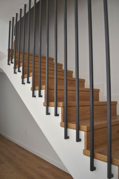 Modern Staircase Design Ideas - Surf inspirational images of modern staircases. With treads and rails crafted from wood metal concrete rock and glass these creative staircase designs . Modern Stair Railing, Stair Railing Design, Home Stairs Design, Staircase Railings, Modern Stairs, Interior Stairs, Staircase Ideas, Glass Railing, Banisters