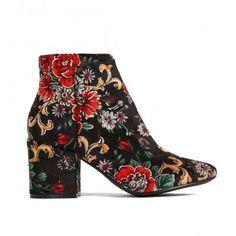Malika Ankle Boots In Floral Velvet
