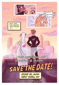 I know she won't want these... but they are SOOOO cool!  Comic Book Style Save the Date Nerdy/Geeky by AwkwardAffections, $25.00
