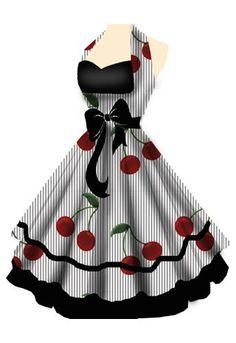 Pinup / Rockabilly Dress, wow I so want this dress! Would make an awesome cute apron! Mode Rockabilly, Rockabilly Fashion, Retro Fashion, Vintage Fashion, Rockabilly Dresses, Gothic Fashion, Rockabilly Clothing, Lolita Fashion, Fashion Mode