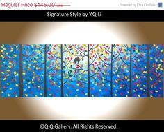 original oil Landscape Palette Knife  Birds Trees by QiQiGallery, $123.25