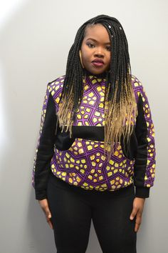 Black hoodie with purple African print Unisex by Arewami on Etsy