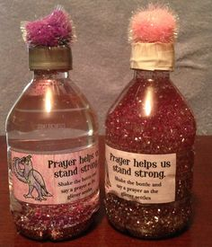 Shake the bottle and say a prayer as the glitter settles. Kids color label and add heart beads for family.