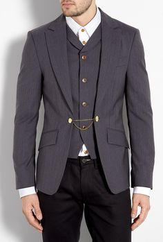 Dark Grey Attached Waistcoat Wool Blazer by Vivienne Westwoo