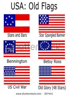 stock vector : Old USA Flags: Stars and Bars, Star Spangled Banner, Bennington, Betsy Ross, US Civil History Education, Teaching History, American Heritage Girls, American History, American Pride, Patriotic Pictures, Cultura General, I Love America, Star Spangled Banner