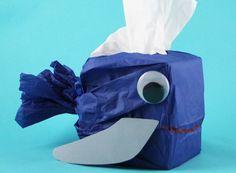 Tissue Box Crafts for Kids - Whale Tissue Box