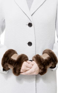 Hermes Brown Nutria Fur Cuffs by What Goes Around Comes Around for Preorder on Moda Operandi