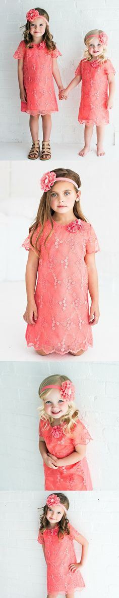This Adorable lace tunic dress is the perfect fit for any little princess. Lined. SHOP cute flower girl dresses at http://thinkpinkbows.com/products/bright-coral-tunic-dress | Kids Fashion