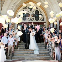 Brides.com: . Balloons. If you're having a spring or summer ceremony in a church, provide guests with balloons to release for a truly uplifting moment.  Browse more traditional real weddings.