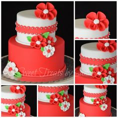 Red and white floral summertime cake - Sweets by Sandra.  I love the simplicity and that scalloped band!