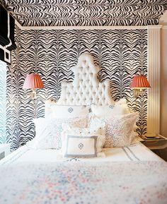 Zebra Wallpaper w/ Orange (minus the bedding)