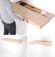 Hideaway, 'Shifty Desk' by Daniel Schofiel Design.- lol a desk hung on the wall by the drawer instead of the back lol.... i like it but sounds like something stupid i would do then just leave it casue it was different