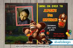 Donkey Kong Birthday Invitations with or without a Photo- Custom Invitations