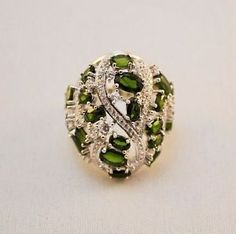 Natural DIOPSIDE & Cubic Zirconia  SS 925 Gemstone Statement Ring Size 9 | eBay