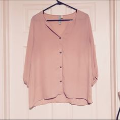 Blush Blouse Beautiful blush blouse with cute gold buttons. No pulls tares or stains. Tops Blouses
