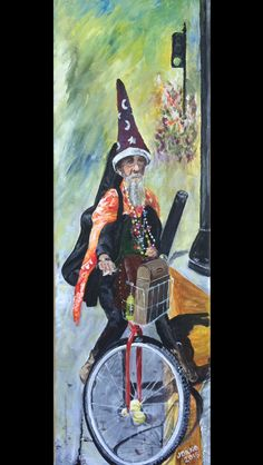"""Key West Wizard"" 8x24 original acrylic on canvas. - $225 (includes shipping if required)  This was the first left hand piece that I started towards the end of my bed rest after my accident.  It was taken from a photo that my dad had taken several years ago in 2005 of one of the local homeless characters that call the streets of Key West home.  I worked on it for short periods of time and then put it on the back burner until i finished it last night. West Home, Bed Rest, Working On It, Acrylic Painting Canvas, Original Artwork, Characters, Key, The Originals, Night"