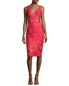 Sleeveless+Embroidered+Cocktail+Dress,+Red+by+David+Meister+at+Neiman+Marcus.